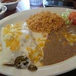 Chicken Enchiladas, beans, rice & small salad