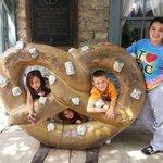 Kids outside pretzel factory