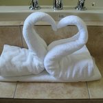 Thought this was very sweet, folded towels into swans, the jet tub was amazing!
