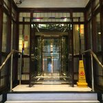 Lobby entrance and glass elevator