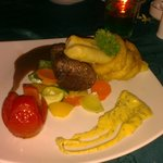 Delicious sir loin steak at the restaurant
