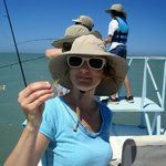 Eryn handling a shrimpy for bait