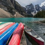 Canoes by the lake