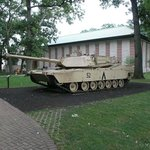 One of several tanks in front of military exhibit