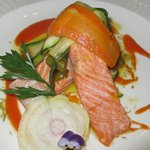 Layered trout and vegetable starter