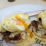 Eggs Benedict with eisbein at Zaras Cafe