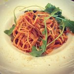 Spaghetti with anchovy tomato sauce