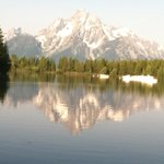 Beautiful Tetons from colter bay on Jackson lake