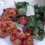 Delicious spinach salad and tomato balls