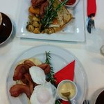 Big Breakfast and Eggs Benedict (with sauce on the side)