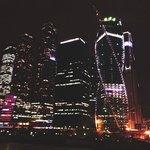 Москва Сити с балкончика на мосту.