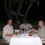 Dinner with our guide Chris, back in camp after a safari.