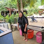 The Dive shop is 15 minutes from the water. In the background, you can see the dining/lounging/a