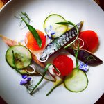 Marinated mackerel with pickled cucumber sea vegetables and borage flowers