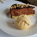 Chocolate Cheesecake with Salted Caramel Ice Cream