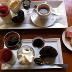 Cafe gourmand with a selection of mini desserts