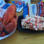 Whole lobster and lobster roll. Roll is served with chips at the time they were around $17 for t