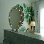 Movie star mirror in room....