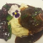 Venison Osso Bucco, Yukon Whipped Potatoes, Heirloom Purple & Green Spinach