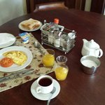 One of my breakfasts served in the room. Nice and tasty!