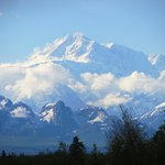 View of Mt. McKinley from the car, driving to town from the cabins