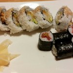 Tuna nigiri and crunchy shrimp tempura roll.