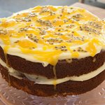 Carrot & passion fruit cake