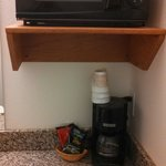 Micro above sink, coffee pot below