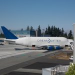 The Dreamlifter is parked next to the Future of Flight
