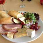 Home honey baked gammon and cheese ploughman's