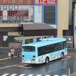 the shuttle bus, costs 210 yen one way
