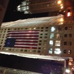 The American Flag on a building in Chicago