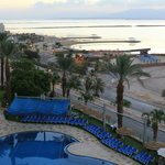 The view of the Dead Sea and pool from my room!