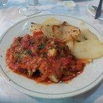Fish in ratatouille type sauce