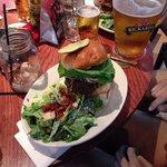 Burger and salad.