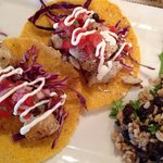 Fresh Catch Tacos w/black beans & rice