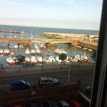 view from our window..one fishing boat named 'Squids Inn'.