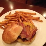 Black and Bleu Burger with bacon and seasoned fries