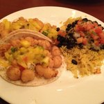 Langostinio lobster tacos with pineapple chutney salsa, red beans and rice - $16