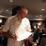 The lovely Michel Roux Jr. signing the menu with Birthday wishes!