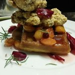 Duck confit and waffles with rainier cherry compote.