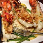 lobster covered in lobster with mashed pot. and string beans