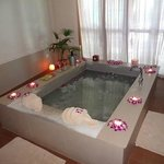 couples bubble bath in the spa!