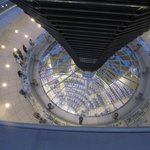 View into Parliament chamber from atop Reichstag Dome