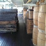 Wood for the boiler and barrels with goods.