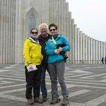 Us with Rafn in front of Hallgrimskirkja.