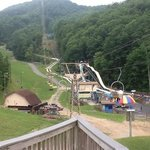View up the mountain and the Alpine Slide track down.