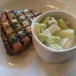 Grilled swordfish with creamy cucumber and onion salad