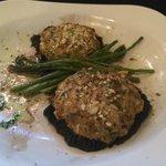 Crab stuffed portabella with asparagus