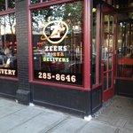 outside Zeeks Pizza in Seattle near the Space Needle